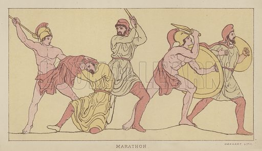 Marathon. Illustration for The Story of the Persian War from Herodotus by Alfred J Church with illustrations from the antique (Seeley, Jackson and Halliday, 1882).