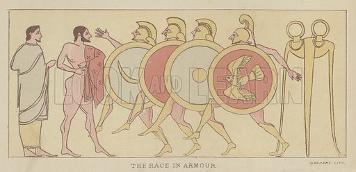 The Race in Armour. Illustration for The Story of the Persian War from Herodotus by Alfred J Church with illustrations from the antique (Seeley, Jackson and Halliday, 1882).