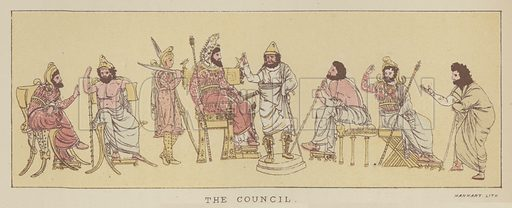 The Council. Illustration for The Story of the Persian War from Herodotus by Alfred J Church with illustrations from the antique (Seeley, Jackson and Halliday, 1882).