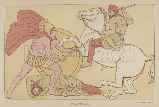 Platoea. Illustration for The Story of the Persian War from Herodotus by Alfred J Church with illustrations from the antique (Seeley, Jackson and Halliday, 1882).