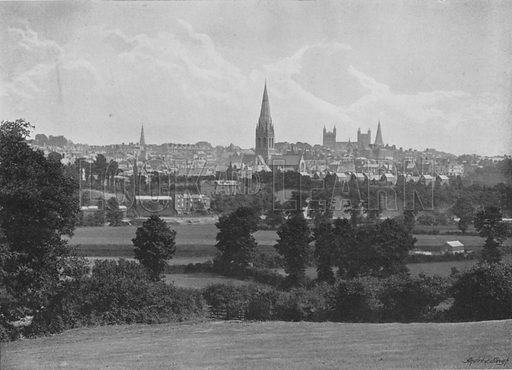Exeter, from Barley. Illustration for Pictorial England and Wales (Cassell, c 1895).