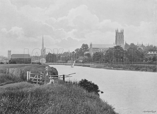 Worcester Cathedral. Illustration for Pictorial England and Wales (Cassell, c 1895).