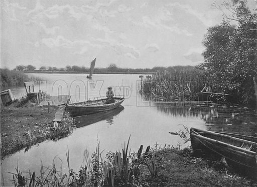 Wroxham Broad, Norfolk. Illustration for Pictorial England and Wales (Cassell, c 1895).