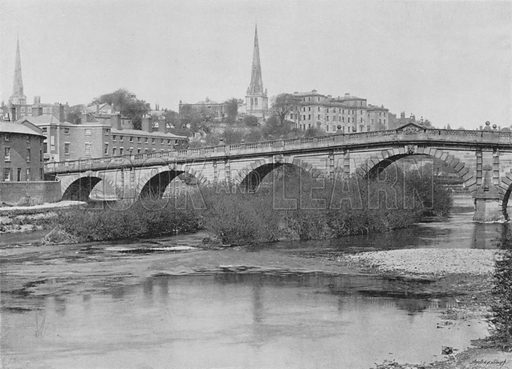 English Bridge, Shrewsbury. Illustration for Pictorial England and Wales (Cassell, c 1895).