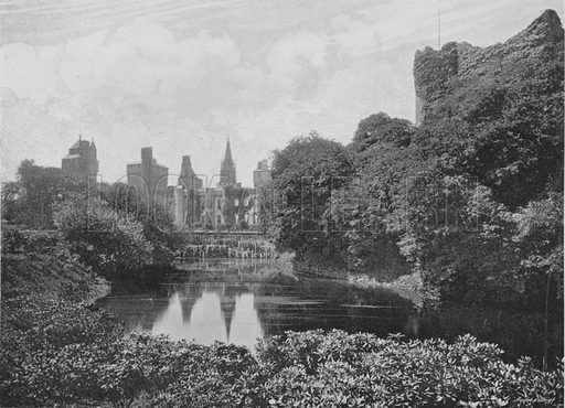 Cardiff Castle, East Front and Keep. Illustration for Pictorial England and Wales (Cassell, c 1895).