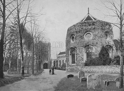 Bury St Edmunds, Tower, Church, and Abbey. Illustration for Pictorial England and Wales (Cassell, c 1895).