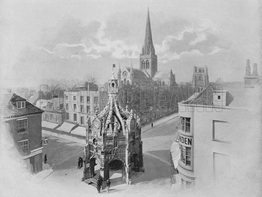 Chichester, the Cathedral, Market-Cross, and Tower. Illustration for Pictorial England and Wales (Cassell, c 1895).