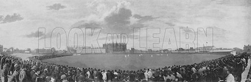 Surrey and Australians Cricket Match at Kennington Oval. Illustration for Pictorial England and Wales (Cassell, c 1895).