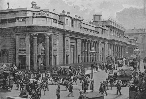 The Bank of England. Illustration for Pictorial England and Wales (Cassell, c 1895).