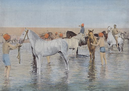 Bain de Mer. Illustration for La France, Aquarelles Souvenirs de Voyages (Boulanger, c 1900).