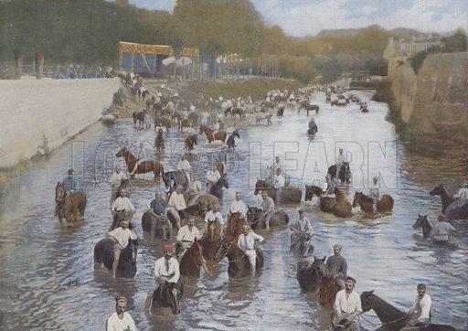 La Baignade. Illustration for La France, Aquarelles Souvenirs de Voyages (Boulanger, c 1900).