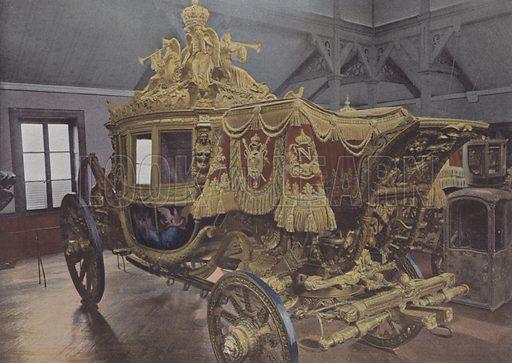 Voiture du sacre de Charles X. Illustration for La France, Aquarelles Souvenirs de Voyages (Boulanger, c 1900).