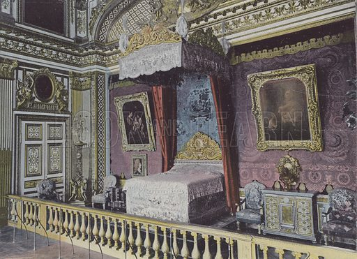Chambre de Louis XIV. Illustration for La France, Aquarelles Souvenirs de Voyages (Boulanger, c 1900).