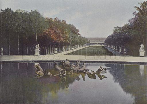 Bassin d'Apollon, ou le Char embourbe et le Tapis vert. Illustration for La France, Aquarelles Souvenirs de Voyages (Boulanger, c 1900).