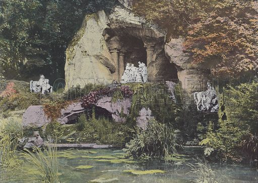 Bosquet des Bains d'Apollon. Illustration for La France, Aquarelles Souvenirs de Voyages (Boulanger, c 1900).