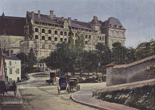Chateau de Blois, Facade. Illustration for La France, Aquarelles Souvenirs de Voyages (Boulanger, c 1900).