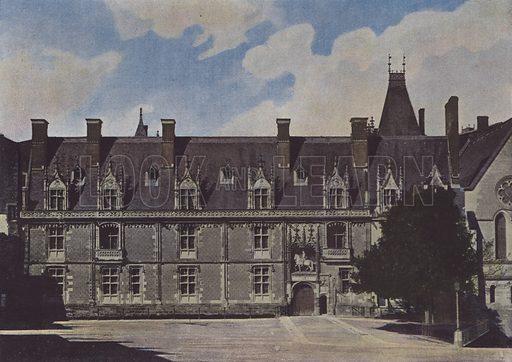Chateau de Blois, Facade sur la cour. Illustration for La France, Aquarelles Souvenirs de Voyages (Boulanger, c 1900).