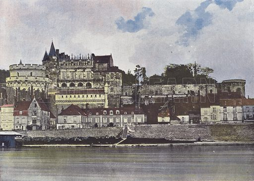 Chateau d'Amboise. Illustration for La France, Aquarelles Souvenirs de Voyages (Boulanger, c 1900).