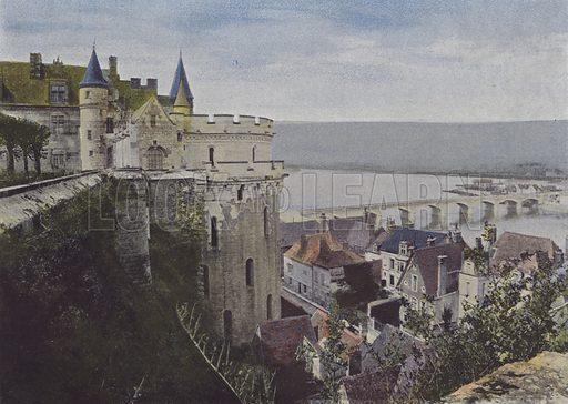 Chateau d'Amboise, Vue de la Loire. Illustration for La France, Aquarelles Souvenirs de Voyages (Boulanger, c 1900).
