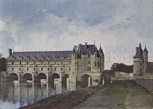 Chateau de Chenonceaux. Illustration for La France, Aquarelles Souvenirs de Voyages (Boulanger, c 1900).