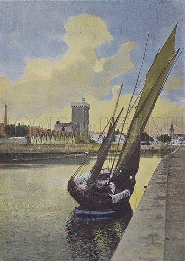 Les Sables d'Olonne, Barque de peche. Illustration for La France, Aquarelles Souvenirs de Voyages (Boulanger, c 1900).