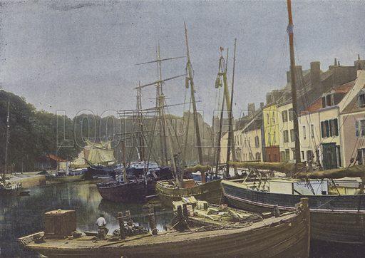 Belle-Ile-en-Mer, Port de Palais. Illustration for La France, Aquarelles Souvenirs de Voyages (Boulanger, c 1900).