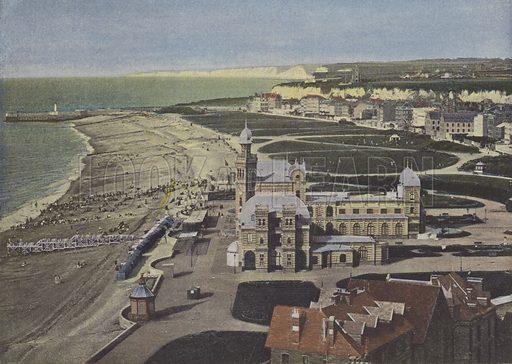 Dieppe, Vue prise du chateau. Illustration for La France, Aquarelles Souvenirs de Voyages (Boulanger, c 1900).