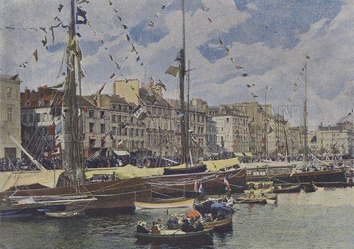 Le Havre, Bassins un jour de fete. Illustration for La France, Aquarelles Souvenirs de Voyages (Boulanger, c 1900).
