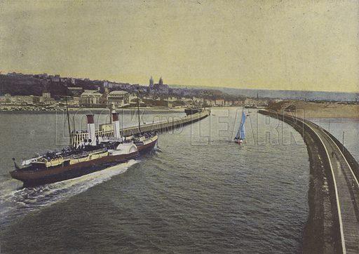 Boulogne-sur-Mer, Entree d'un vapeur. Illustration for La France, Aquarelles Souvenirs de Voyages (Boulanger, c 1900).