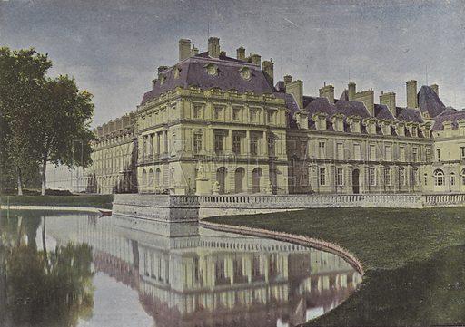 Fontainebleau, Cour de la Fontaine. Illustration for La France, Aquarelles Souvenirs de Voyages (Boulanger, c 1900).