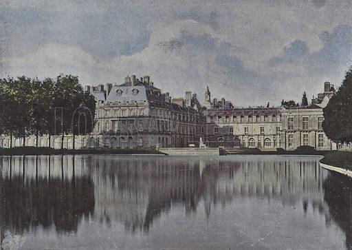 Piece d'eau des Carpes. Illustration for La France, Aquarelles Souvenirs de Voyages (Boulanger, c 1900).