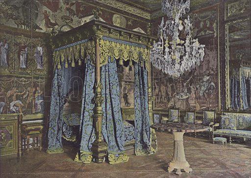 Chambre d'Anne d'Autriche. Illustration for La France, Aquarelles Souvenirs de Voyages (Boulanger, c 1900).