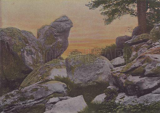 Rochers du mont Ussy. Illustration for La France, Aquarelles Souvenirs de Voyages (Boulanger, c 1900).