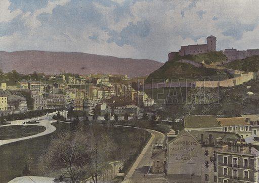 Lourdes, Vue generale. Illustration for La France, Aquarelles Souvenirs de Voyages (Boulanger, c 1900).