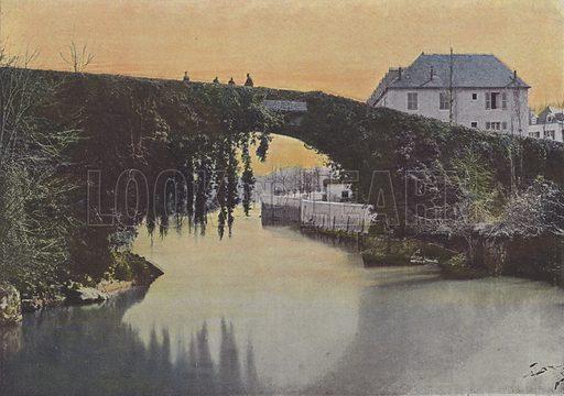 Betharram, Le Pont. Illustration for La France, Aquarelles Souvenirs de Voyages (Boulanger, c 1900).