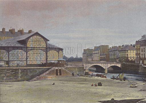 Nantes, L'ile Feydeau. Illustration for La France, Aquarelles Souvenirs de Voyages (Boulanger, c 1900).