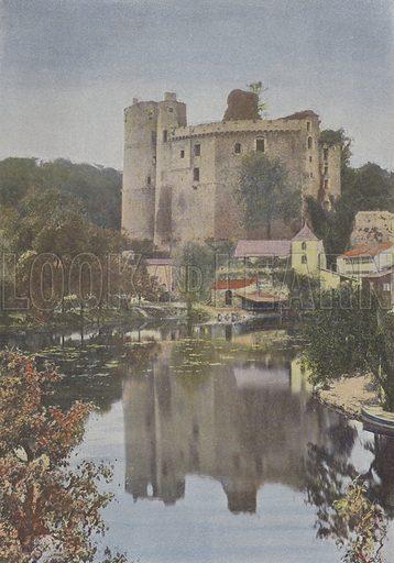 Clisson, Chateau. Illustration for La France, Aquarelles Souvenirs de Voyages (Boulanger, c 1900).