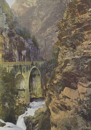 Le Pont du Hourat. Illustration for La France, Aquarelles Souvenirs de Voyages (Boulanger, c 1900).
