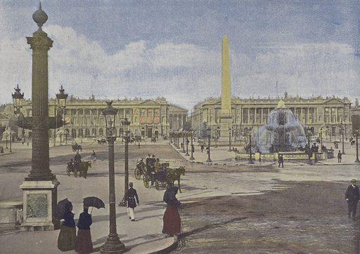 Paris, Place de la Concorde. Illustration for La France, Aquarelles Souvenirs de Voyages (Boulanger, c 1900).