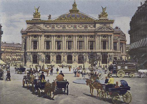 Paris, Place de l'Opera. Illustration for La France, Aquarelles Souvenirs de Voyages (Boulanger, c 1900).