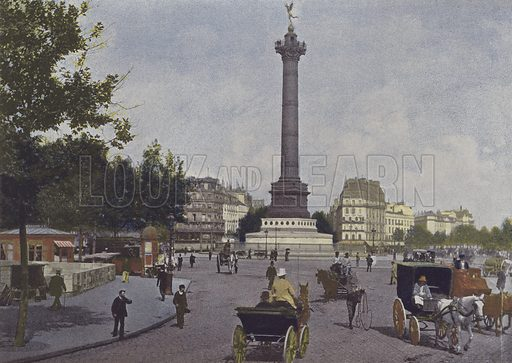Paris, Place de la Bastille. Illustration for La France, Aquarelles Souvenirs de Voyages (Boulanger, c 1900).