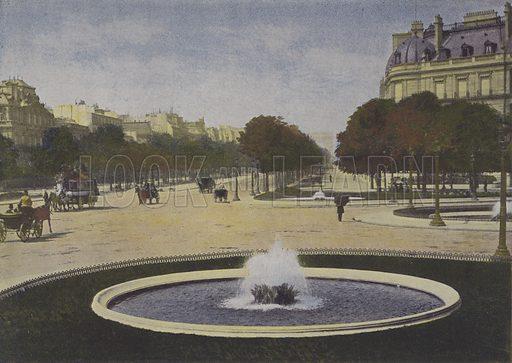 Paris, Rond-Point des Champs-Elysees. Illustration for La France, Aquarelles Souvenirs de Voyages (Boulanger, c 1900).