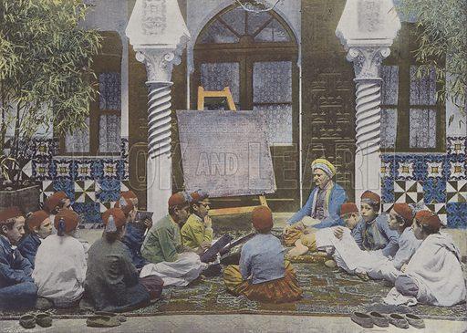 L'Ecole arabe. Illustration for La France, Aquarelles Souvenirs de Voyages (Boulanger, c 1900).