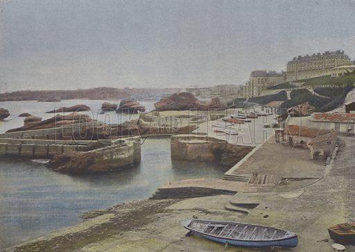 Biarritz, Port-Vieux. Illustration for La France, Aquarelles Souvenirs de Voyages (Boulanger, c 1900).