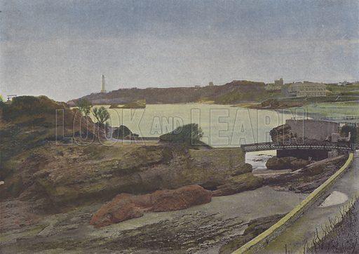 Biarritz, La Plage. Illustration for La France, Aquarelles Souvenirs de Voyages (Boulanger, c 1900).