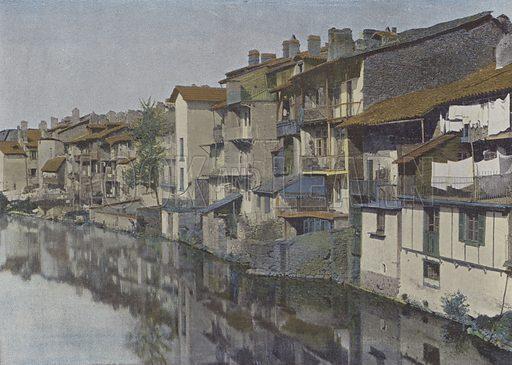 Aurillac, La jordanne. Illustration for La France, Aquarelles Souvenirs de Voyages (Boulanger, c 1900).