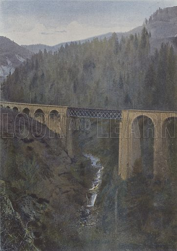 Pont du chemin de fer au Liorant. Illustration for La France, Aquarelles Souvenirs de Voyages (Boulanger, c 1900).