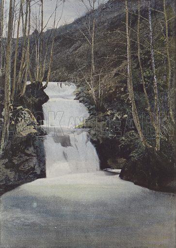 Cascade du Benet, pres Murat. Illustration for La France, Aquarelles Souvenirs de Voyages (Boulanger, c 1900).