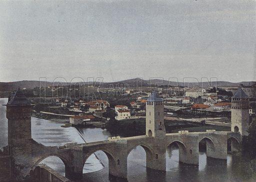 Cahors, Pont Valentre. Illustration for La France, Aquarelles Souvenirs de Voyages (Boulanger, c 1900).