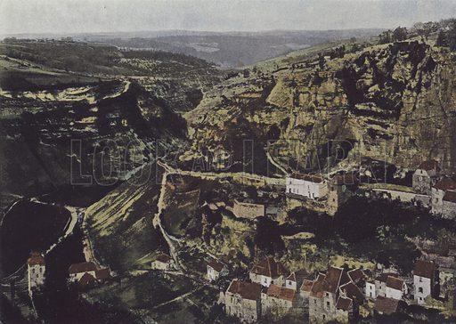 Roc-Amadour, Une vue du Causse de gramat. Illustration for La France, Aquarelles Souvenirs de Voyages (Boulanger, c 1900).